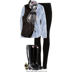 J.Crew vest, Burberry scarf & Hunter boots