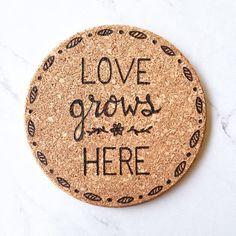 Love Grows Here trivet woodburned trivet housewarming