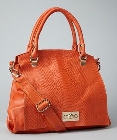 Take a look at this Orange Snakeskin Shoulder Bag on zulily today!