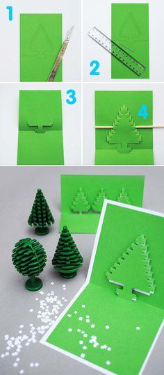 Pop-Up Christmas Tree Cards Diy Holiday Cards, Christmas Tree Cards, Xmas Cards, Holiday Crafts, Christmas Crafts, Homemade Christmas, Xmas Tree, Holiday Recipes, Kirigami