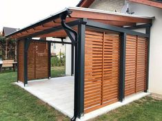 While antiquated in idea, the pergola has been encountering somewhat of a cutting edge new beginning nowadays. A smart open air cover without any dividers (or generally worked as a solitary expansion to one's home), a pergola is a blustery method to Black Pergola, Gazebo Pergola, Patio Roof, Pergola Plans, Modern Pergola, Covered Pergola, Rustic Pergola, Metal Pergola, Plans Architecture