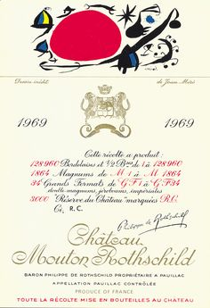 Chateau Mouton-Rothschild vintage wine labels by famous artists