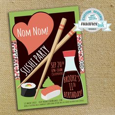 Custom Sushi Birthday Party Invitations Chopsticks Wasabi Soy Sauce by NuanceInk on Etsy