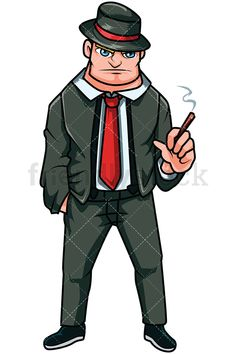 Russian Mobster Smoking A Cigarette: Royalty-free stock vector illustration of a Russian mafia gangster dressed in a suit and a tie, wearing a hat, and holding a cigarette while his other hand is in his pocket. #friendlystock #clipart #cartoon #vector #stockimage #art #mafia #boss #1920 #mobster #thug #spy #Russian