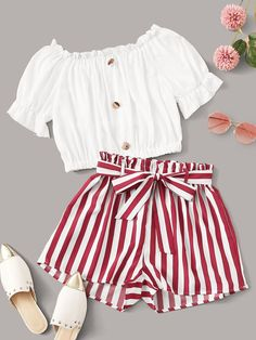 Frill Trim Crop Top & Striped Belted ShortsCheck out this Frill Trim Crop Top & Striped Belted Shorts on Romwe and explore more to meet your fashion needs! Teenage Girl Outfits, Cute Girl Outfits, Girls Fashion Clothes, Teen Fashion Outfits, Girly Outfits, Cute Casual Outfits, Outfits For Teens, Stylish Outfits, Work Outfits