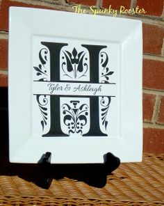 Personalized 105 Square Plate by TheSpunkyRooster on Etsy, $30.00
