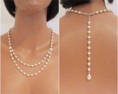 Back Drop Necklace Pearl Back Drop Sterling by GlamorousBijoux