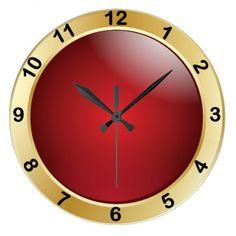 #Red and #Gold #Wall #Clock 50% off all clock today.  Nov. 2, 2014  #zazzlebesties #zazzle #shopping #gifts www.zazzle.com/clocks?rf=238713599140281212