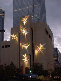 """Luminous Affirmations"""" lightpainting: light,glass and stainless steel. Tampa City hall,2005"""
