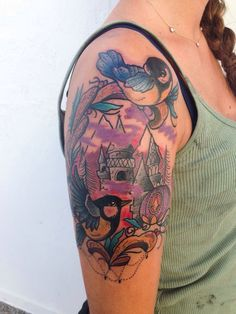 Winter castle and birds tattoo Biancaneve tattooer Milano