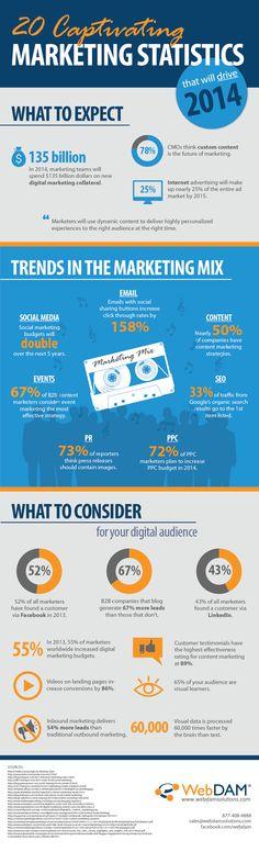 Questa infografica di WebDAM guarda avanti al 2014 per esplorare le tendenze ei cambiamenti che possiamo aspettarci. Una statistica che veramente mi ha sorpreso è circa la crescita della pubblicità su Internet: entro il 2015, questo renderà quasi il 25% dell'intero mercato degli annunci.