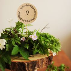 A rustic-themed wedding calls for nature-inspired details that are elegant without being stuffy, like these hand-drawn illustrated table numbers created by Hey Look. Print them on recycled paper, cut out along the lines, attach to wood craft sticks, and insert them into your centerpieces.Download the free printable here ►