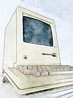 Apple Classics: Macintosh classic 1984-01 (water color art by Matthew Pearce 2014-04 via flickr 14023076615)
