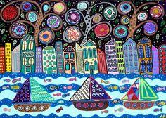 Kerri Ambrosino Art PRINT Sailing in NYC Mexican Folk Art Tree of Life Buildings Sailboats Flowers on Etsy, $20.00