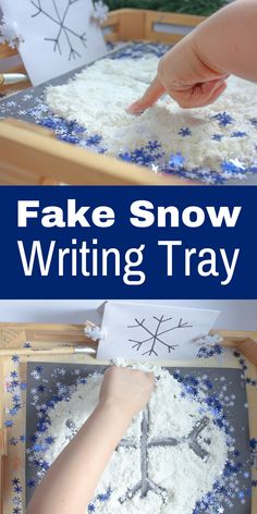 To make fake snow, mix 2 parts shaving cream to 1 part cornstarch. Mix well with hands or stir with a spoon until the cornstarch clumps but remains crumbly. If the mixture seems too wet, add more cornstarch, if the mixture is too dry, add more shaving cream.