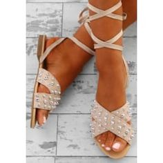 Shop women's footwear at Pink Boutique - from flat sandals to studded sandals, we've got your summer shoes right here! Nude Sandals, Ankle Wrap Sandals, Studded Sandals, Flat Sandals, Gladiator Sandals, Chiffon Maxi Dress, Chiffon Fabric, Red Occasion Dresses, Summer Shoes