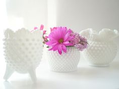 White Hobnail Vase Collection Fenton Milk Glass by vintagebiffann, $40.00
