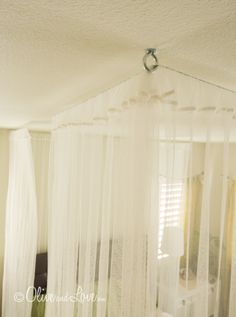 ceiling mounted bed canopy DIY how to tutorial