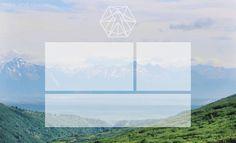 Mountain scenery view blank boxes desktop organizer wallpaper