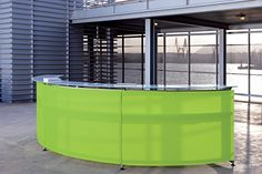 Actiu Informa Curved Reception Desk - 200 Methacrylate front panels @ Blue glass counter tops.jpg (1404×936)