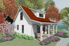 Guest House Plans, Small House Floor Plans, Cottage House Plans, Cottage Homes, Backyard Cottage, Cottage Ideas, Tiny House Cabin, Tiny Houses, Tiny Cottages
