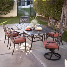 Have to have it. Belham Living San Miguel Cast Aluminum Patio Dining Set - Seats 6 - $1919.98 @hayneedle
