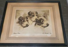 Gorgeous Old Vintage Print Three Pals L. Singer Puppy Dogs Etching? Framed #Vintage