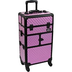 SUNRISE Makeup Case on Wheels 2 in 1 Professional Organizer I3464, 12 Trays, 4 Wheel Spinner, Adjustable Drawer Dividers, Purple Diamond ** More info could be found at the image url.