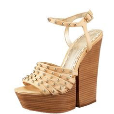 "Alice + Olivia Heels Studded, strappy ""Ulyssa"" Alice + Olivia sandal. Studded leather upper. Straps stack at front of foot. Adjustable ankle strap. 6"" stacked wooden heel; 1 1/2"" platform; 4 1/2"" equiv. Leather sole. Only worn a couple of times. No trades Alice + Olivia Shoes"