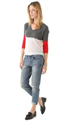 Boyfriend cropped jeans, loafers & v-neck sweater