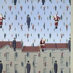 """""""Oui je suis un rêveur. Car un rêveur est un homme qui ne trouve son chemin qu'au clair de lune et qui, comme punition, aperçoit l'aurore avant le reste du monde."""" Oscar Wilde (PH. Golconda, Inspired by: René Magritte, Golconda – 1953 // Santa Golcanda. by Ed Wheeler)"""