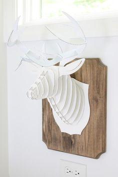 partial DIY cardboard deer head