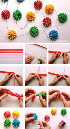 color crafts to do with paper - DIY - farbe arts to do . Origami Paper, Diy Paper, Paper Crafts, Origami Garland, Crafts To Make, Crafts For Kids, Diy Crafts, Diy Party Decorations, Paper Decorations
