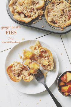 Ginger Peach Pie | www.diethood.com | Individual pies filled with an extraordinary pie filling of diced fresh peaches, ginger, brown sugar, and finished off with a crumb topping. | #pie #recipe #peaches