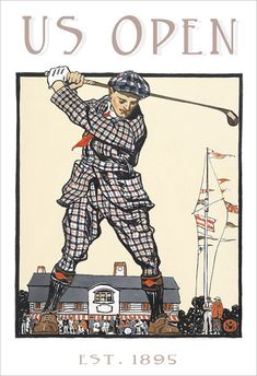 Golf poster  Vintage US Open print 13x19 Golf print by aswegoArts