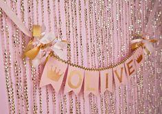 PINK & GOLD First Birthday BANNER / Princess by SweetGeorgiaSweet