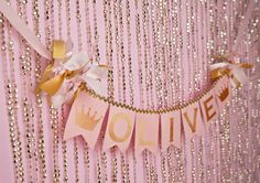 PINK & GOLD First Birthday BANNER / Princess by SweetGeorgiaSweet