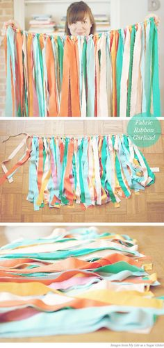 I want to do this fabric ribbon garland but in teal, pink, lace, and lavender.