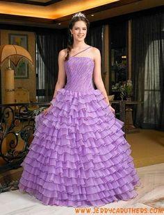 paarse tule bruidsjurk strapless prinses stijl