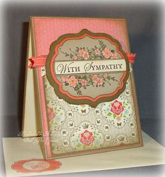 Sympathy -- Coral Flowers -- Victorian -- Vintage Looking -- Handmade Sympathy Card