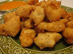 Betty demonstrates how to make Batter-Dipped Fried Chicken Nuggets. This recipe features a batter that can be used for deep-fried chicken, seafood, or vegeta. Appetizer Dips, Appetizer Recipes, Wisconsin Cheese Curds, Cheese Recipes, Cooking Recipes, Fried Chicken Nuggets, Fried Shrimp, Beer Batter, Quesadillas