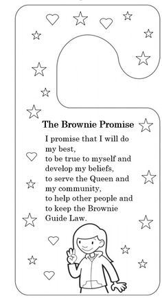 brownie promise UK door hanger to colour in & cut out