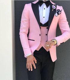 49cca1c8338 Pink With Black Lapel Suits for Men Custom Made 3 Piece Suit(Jacket Pant  Vest