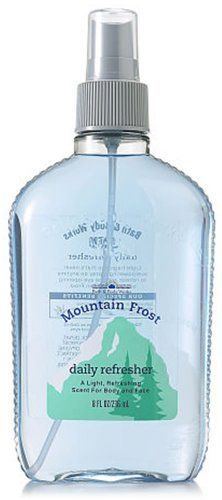 Bath & Body Works Men Mountain Frost Daily Refresher Splash 8 fl oz (236 ml) by Bath & Body Works. $64.93. A Light, Refreshing, Energizing Scent for Body and Face. Bath and Body Works Men Collection. Durable 8 oz Plastic Spray Bottle - Manufacturer Discontinued Item. Aloe Vera Soothes and Softens Skin. Light enough to Wear All Over Anytime and Every Day. Bath & Body Works Men Mountain Frost Daily Refresher Splash 8 fl oz (236 ml). A light, refreshing, energizing scent for body...