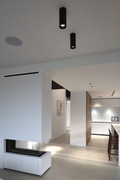 Modern White Open Living Room With Kreon Holon 80 Surface Mounted Black Downl Kitchen Interior Design Modern Ceiling Light Fittings Interior Design Living Room