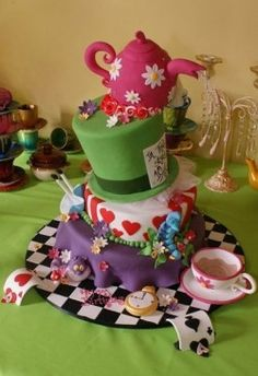 So many cute Alice in Wonderland cakes, and cupcake displays.  I would love to…