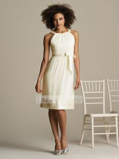 A-line Halter Knee Length with Ribbon Chiffon Bridesmaid Dress BD10239