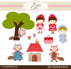 Digital clip art  for all use, Red Riding Hood. Instant Download