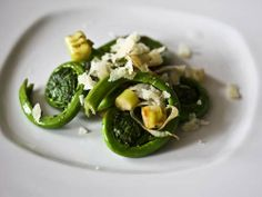 Fiddleheads with Parmesan.
