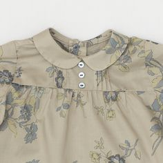 Baby Girl's Blouse with Vintage Big Flowers Design in Taupe and Turquoise from Pepa and Company - Spanish Clothing for Children. - online boutique shop for casual and formalwear